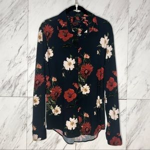 3/$60 Zara Navy Floral Slim Fit Button Up SZ L